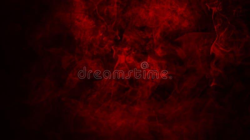 Nebbia rossa o fumare effetto speciale isolato sul pavimento fondo rosso di opacit?, della foschia o dello smog fotografia stock libera da diritti