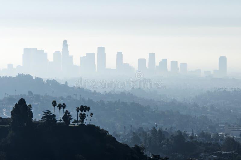 Nebbia Smoggy della LA fotografia stock