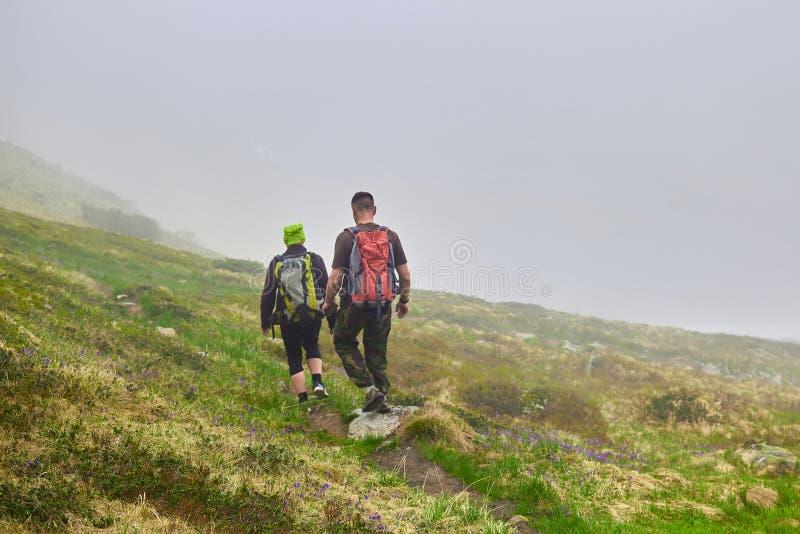 Nebbia sulla montagna Scalatori che camminano giù la collina rocciosa erbosa in belle montagne verdi Punto di vista strabiliante  immagine stock