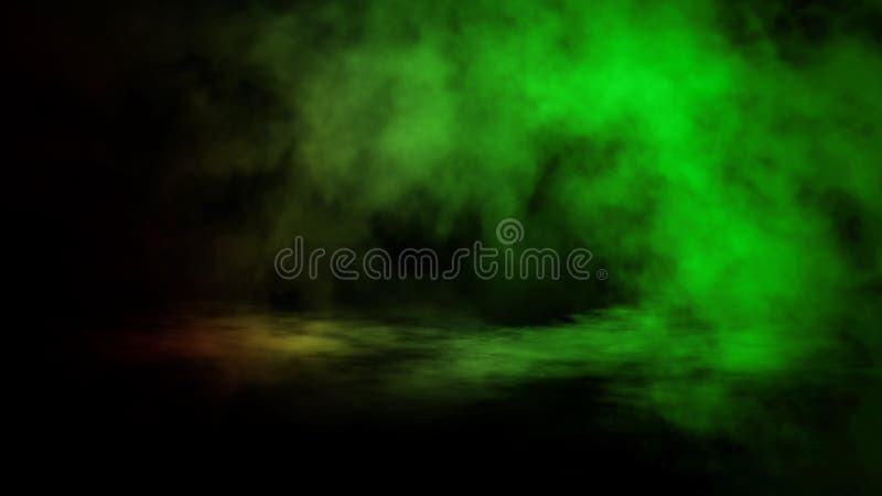 Nebbia verde e rosa e appannare effetto su fondo isolato per testo o spazio Sovrapposizioni di struttura del fumo fotografia stock