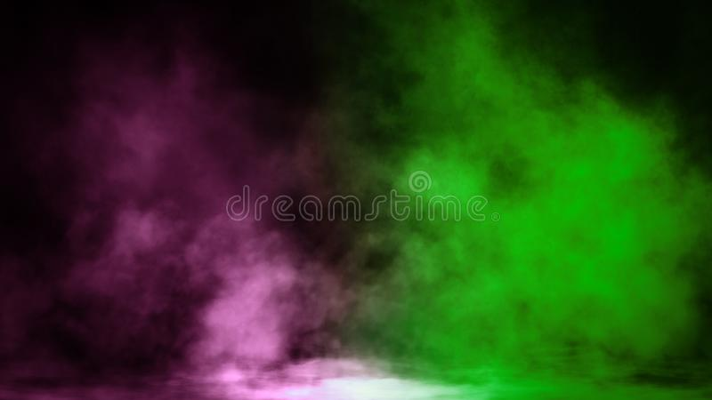 Nebbia verde e rosa e appannare effetto su fondo isolato per testo o spazio Sovrapposizioni di struttura del fumo fotografie stock