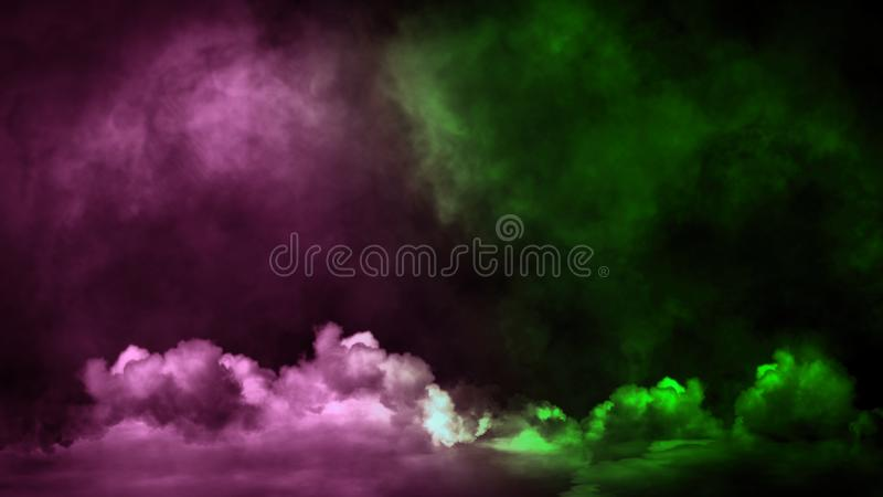 Nebbia verde e rosa e appannare effetto su fondo isolato per testo o spazio Sovrapposizioni di struttura del fumo immagini stock