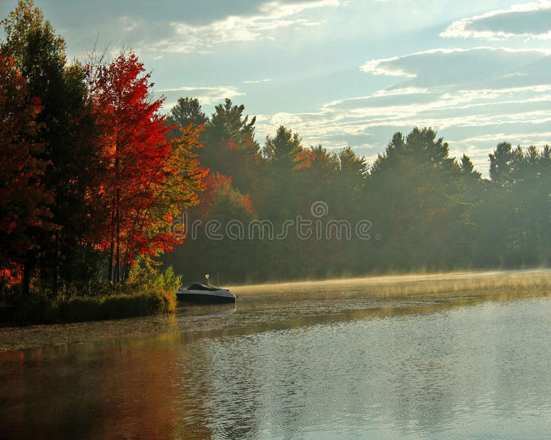 Nebel auf dem See im Fall stockfoto