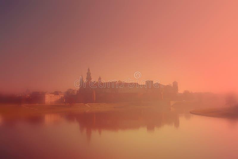 Nebel des Wawel Schlosses morgens stockbilder