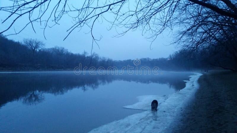 Nebel entlang dem Mississippi lizenzfreies stockfoto