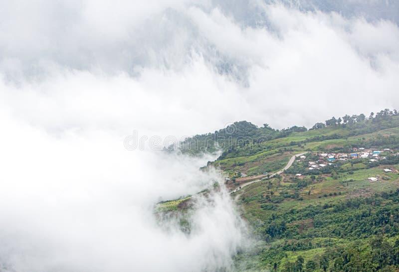 Nebel- und Wolkengebirgstal-Frühlingslandschaft Bewaldeter Berghang in der tief liegend Wolke lizenzfreie stockbilder