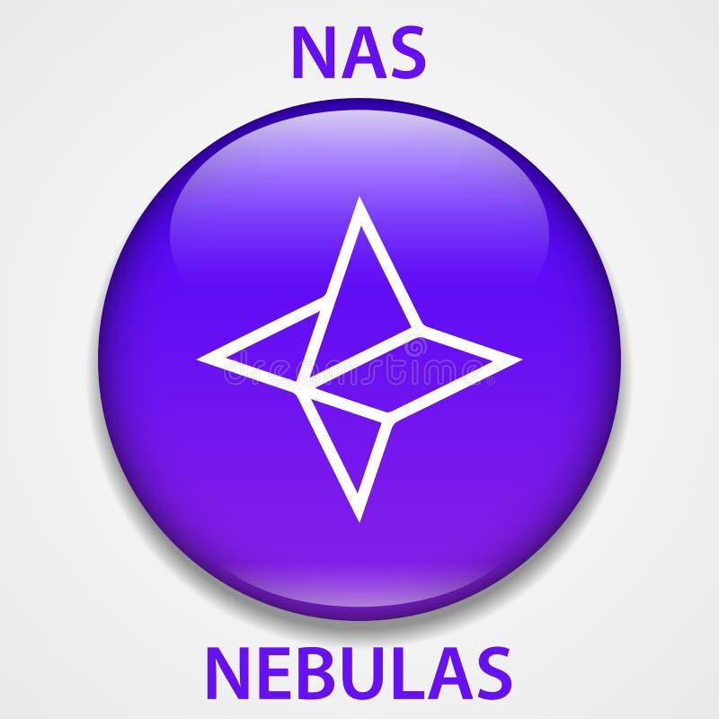 Nebelfleck-Münze cryptocurrency blockchain Ikone Virtuelles elektronisches, Internet-Geld oder cryptocoin Symbol, Logo vektor abbildung