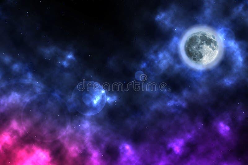 Nebelflecke und Planet im Weltraum lizenzfreie stockfotos