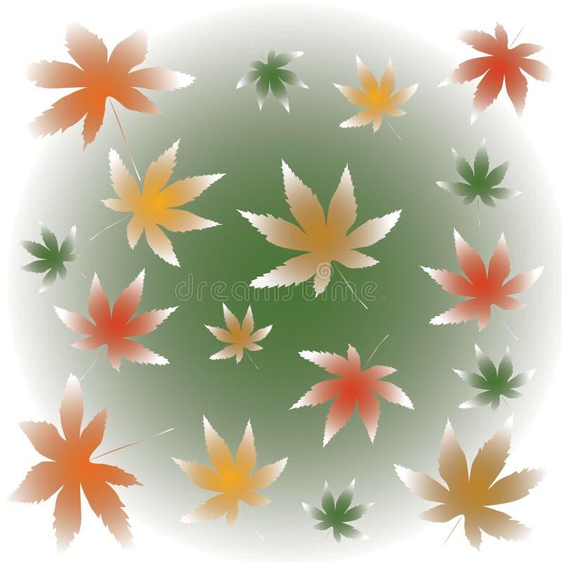 Nebelhafte fallende Ahornblattillustration stock abbildung