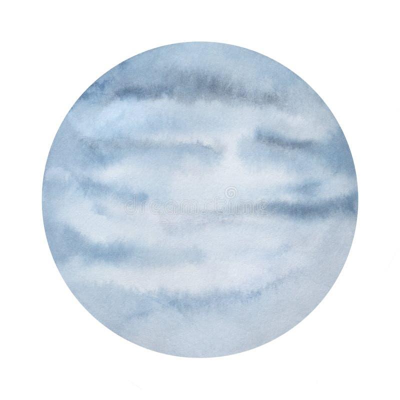 Nebelhafte Planetenaquarellillustration stock abbildung