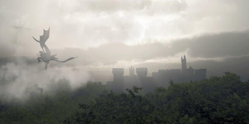 Nebelhafter Fantasie-Wald lizenzfreie abbildung