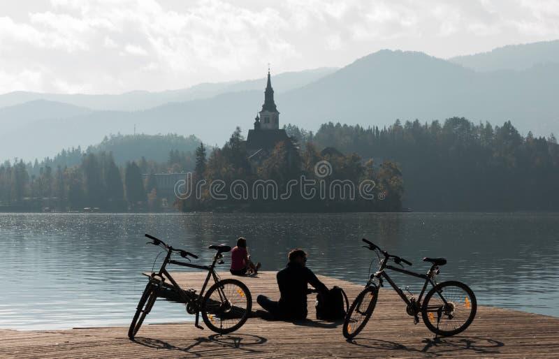 Nebelhafter Morgen am See geblutet stockbild
