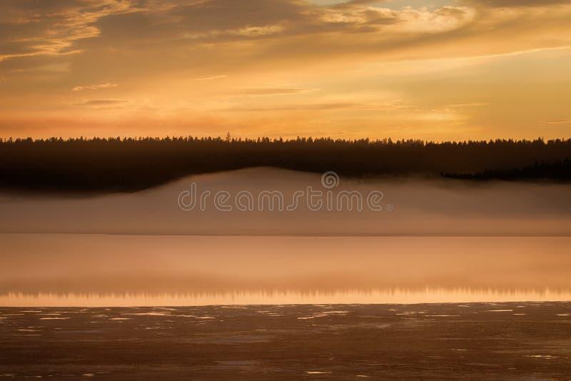 Nebelhafter ruhiger Abend auf dem Waldsee, Sonnenuntergang stockbild