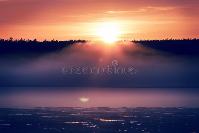 Nebelhafter ruhiger Abend auf dem Waldsee, Sonnenuntergang lizenzfreie stockfotos