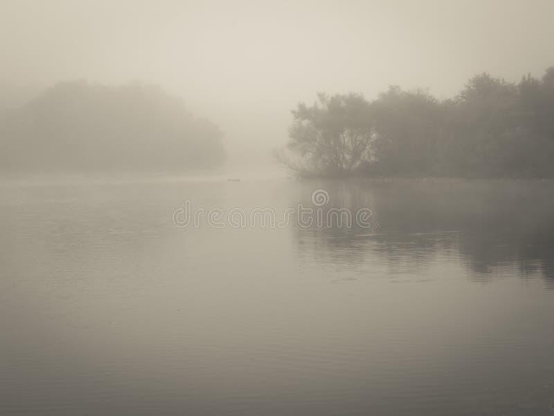 Nebelhafter See an der Dämmerung lizenzfreie stockfotografie