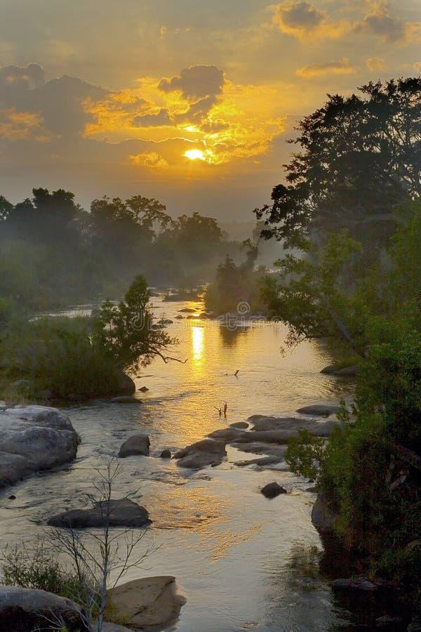 Nebelhafter Sonnenaufgang lizenzfreie stockfotos