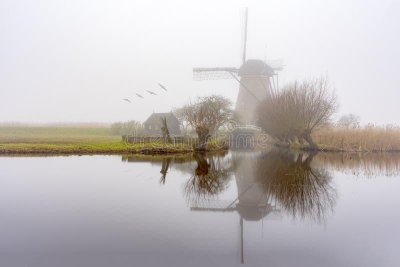 Nebelhafter und ruhiger Windmühlensonnenaufgang stockbild