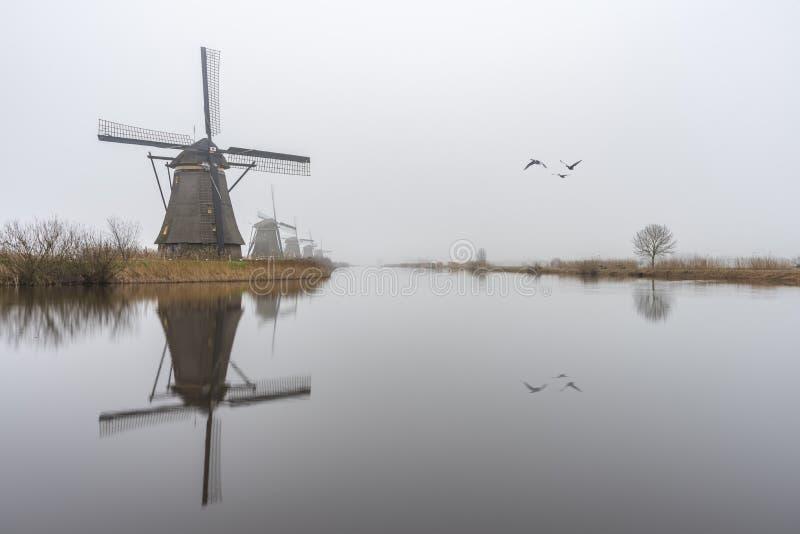 Nebelhafter und ruhiger Windmühlensonnenaufgang lizenzfreie stockfotos