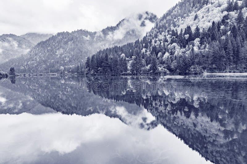 Nebelige Ansicht des Morgens des Gebirgssees lizenzfreie stockbilder