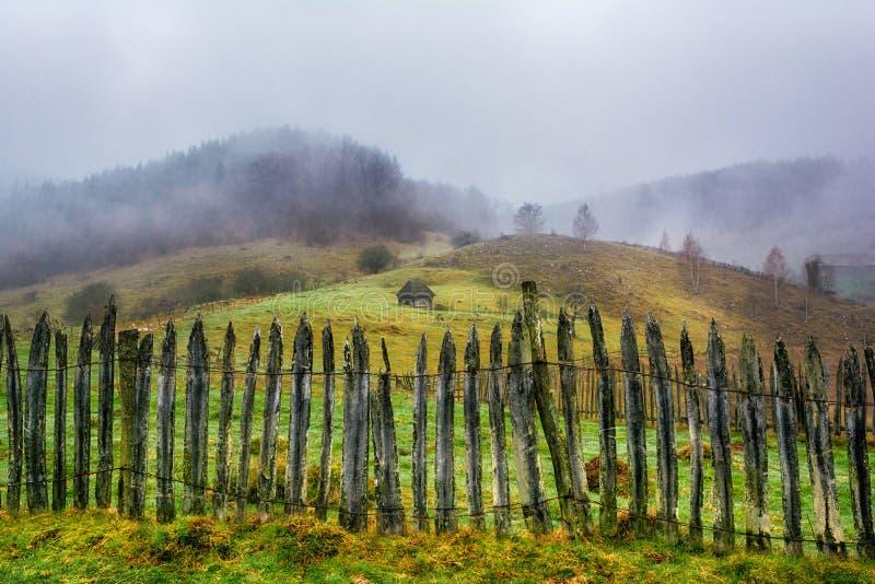 Nebelige ländliche Landschaft in den Karpatenbergen lizenzfreies stockbild