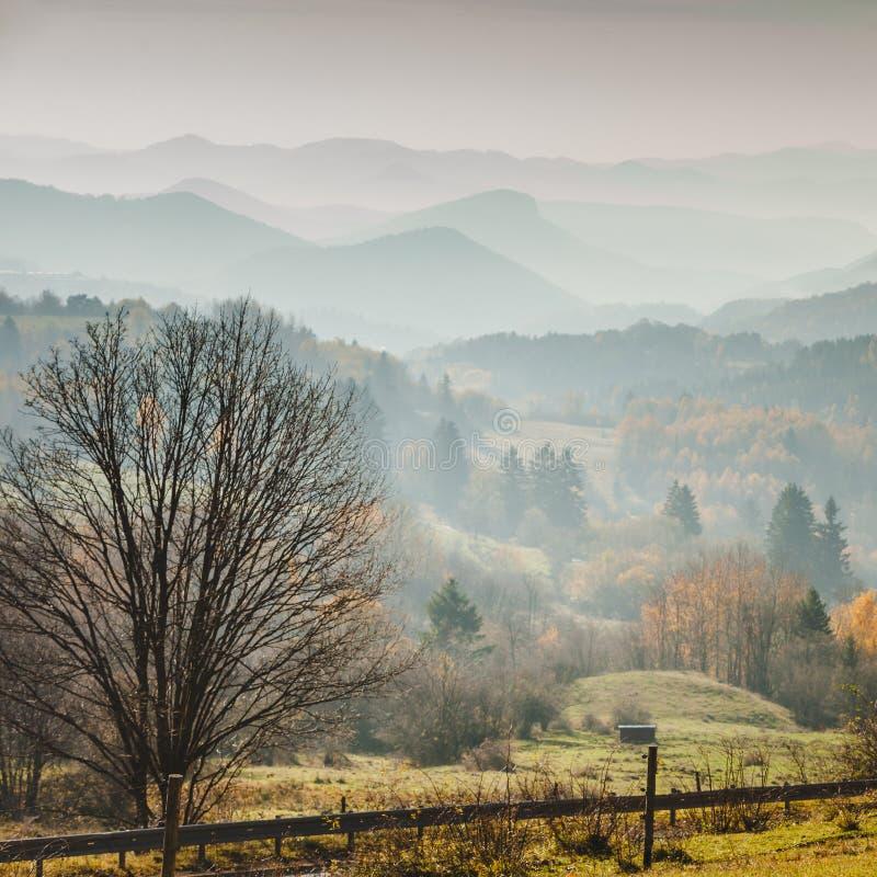 Nebelige Landschaft Slowakei des Herbstes Gebirgs lizenzfreies stockbild