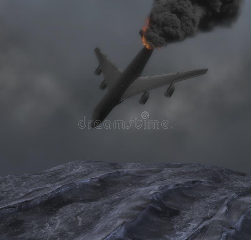 Nebelige Nacht-Jet Plane Crashes Into Rough-Seeillustration vektor abbildung