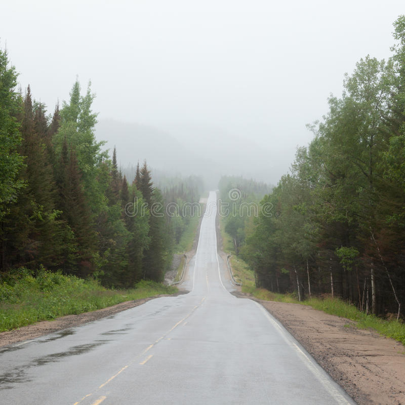 Nebelige Trans-Labrador-Landstraße TLH Quebec Kanada lizenzfreies stockfoto