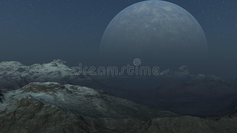 Nebeliger ausländischer Planet, gefrorene Welt - Wiedergabe 3D vektor abbildung