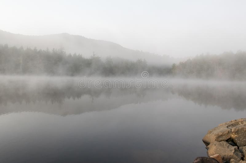 Nebeliger Morgen über dem Teich stockfotos
