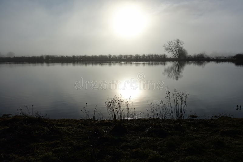 Nebeliger Morgen durch einen See lizenzfreies stockbild