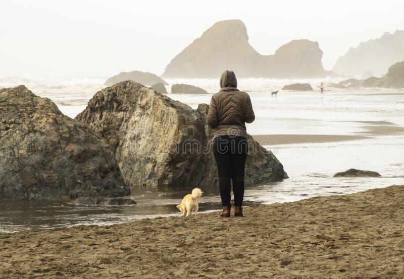 Nebeliger Strand mit den großen Felsen, die aus der wasser- Frau heraus und ihr Hundeabschluß oben und eine andere Paarweise hinu stockfotografie