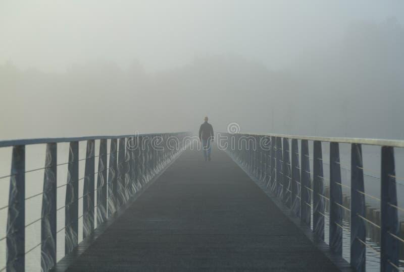 Nebeliger Weg stockfoto