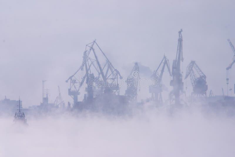 Nebeln Sie über Hafen ein stockfotografie