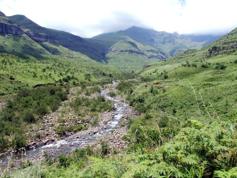 Nebenfluss an der Unterseite der Berge stockfotografie