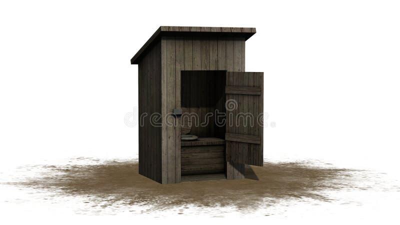 Nebengebäude-Toilette - lokalisiert auf weißem Hintergrund lizenzfreie abbildung