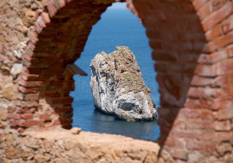 Nebida清洗处,伊格莱斯(撒丁岛-意大利) 库存图片