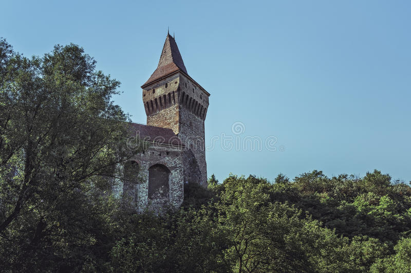 Neboisa Tower, Corvin Castle, Romania. Hunedoara, Romania - July 23, 2016: The Neboisa Tower, a defense bastion located in the southern part of the Corvin Castle royalty free stock photo
