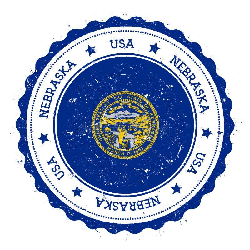 Nebraska flaggaemblem stock illustrationer