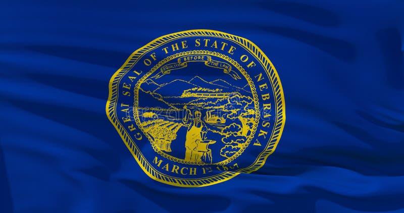 Nebraska-Flagge auf Satinbeschaffenheit Abbildung 3D stock abbildung