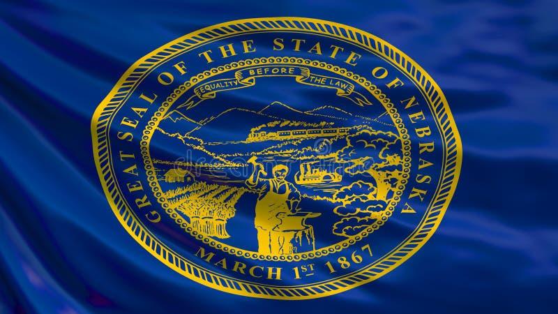 Nebraska-Flagge Wellenartig bewegende Flagge von Nebraska-Staat, die Vereinigten Staaten von Amerika lizenzfreie abbildung