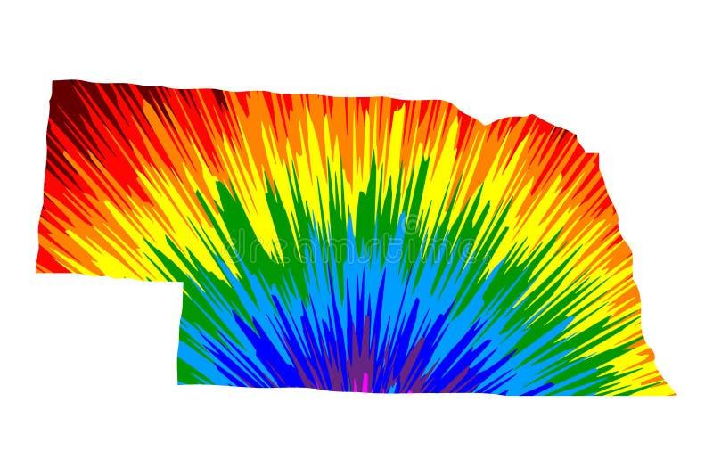 Nebraska - o mapa é teste padrão colorido projetado do sumário do arco-íris ilustração do vetor