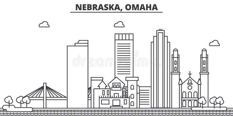 Nebraska, Omaha architektury linii linii horyzontu ilustracja Liniowy wektorowy pejzaż miejski z sławnymi punktami zwrotnymi, mia ilustracji