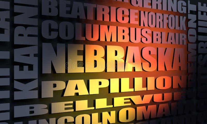Nebraska state cities list royalty free illustration