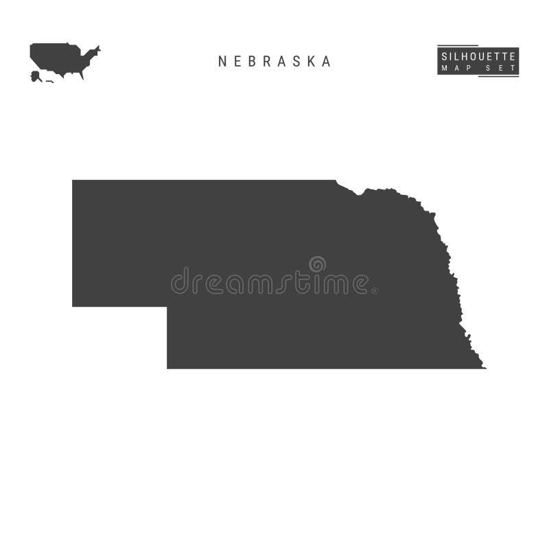 Nebraska USA påstår vektoröversikten som isoleras på vit bakgrund Hög-specificerad svart konturöversikt av Nebraska stock illustrationer