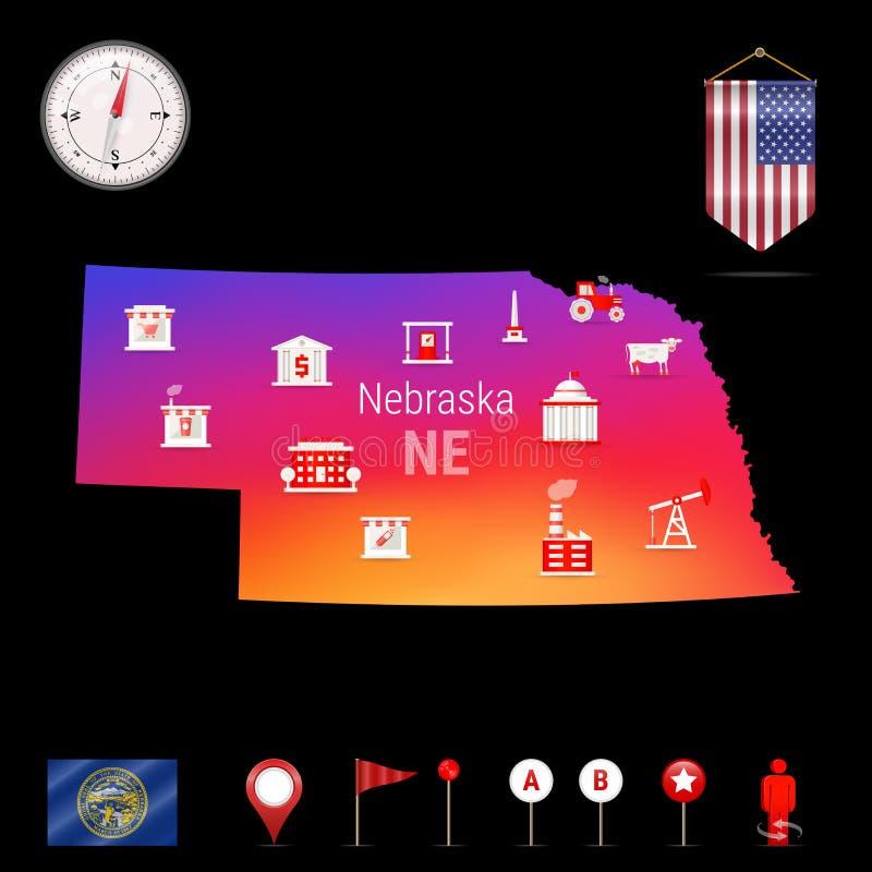 Nebraska vektoröversikt, nattsikt Kompasssymbol, översiktsnavigeringbeståndsdelar Standertflagga av USA Branschsymboler vektor illustrationer