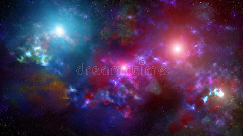 Nebula and galaxies in deep space stock illustration