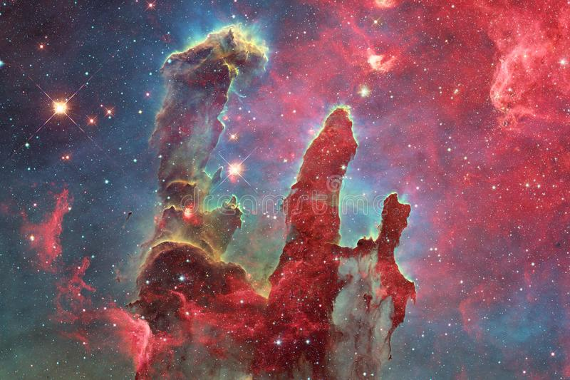 Nebula and galaxies in space. Elements of this image furnished by NASA.  royalty free illustration