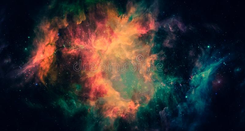 Nebula and galaxies in space. Panorama view. Elements of this image furnished by NASA royalty free stock photography