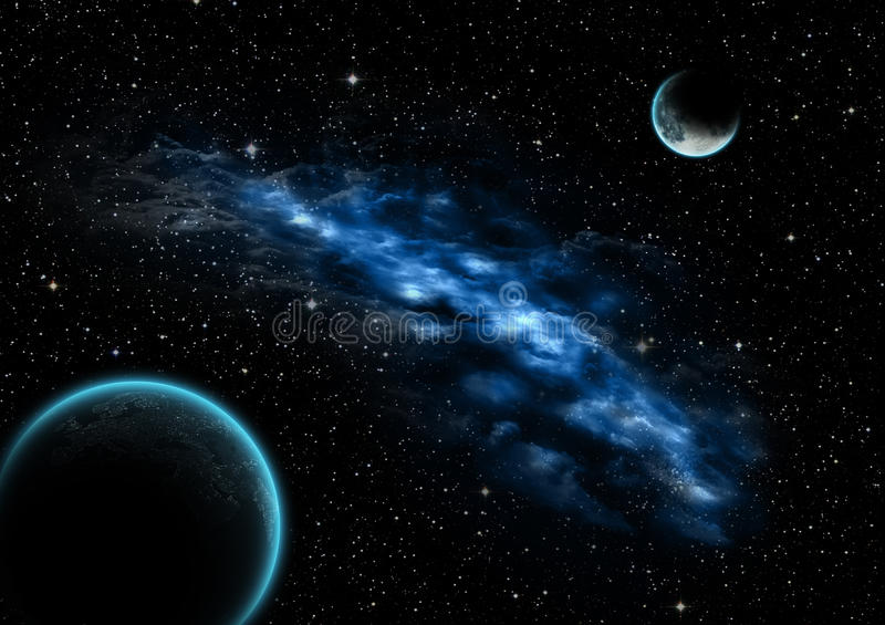 Nebula between moon and earth. Somewhere in the future stock illustration