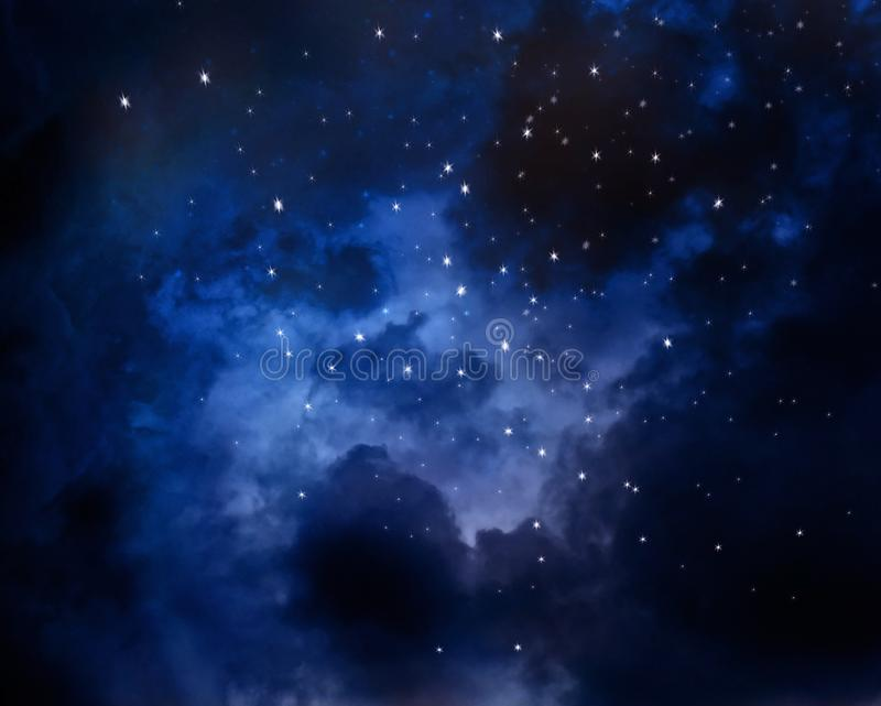 Nebula in night sky. Blue sky with stars royalty free stock photography